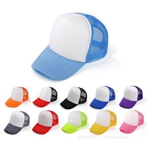 Дети дальнобойщик крышка взрослых сетки шапки пустой дальнобойщик шляпы Snapback шляпы малыша размер 52-55 см взрослый размер 56-60 см Acept на заказ логотип бесплатно EMS