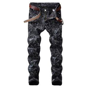 NOVITÀ justin bieber FOG Uomo snow splash-ink jeans HIPHOP Fashion Casual skinny jeans firmati alta qualità discoteche cantanti vestono jeans