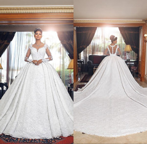 플러스 크기 환상 긴 소매 공 가운 웨딩 드레스 2019 나이지리아 전체 레이스 깎아 지른 두바이 아랍 성 웨딩 드레스