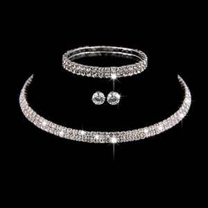 Silver Color Circle Crystal Bridal Jewelry Sets African  Rhinestone Wedding Necklace Earrings Bracelet Sets For Women
