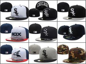 Wholesale Men 's On Field 화이트 삭스 장착 모자 최고 품질 플랫 브림 embroiered 편지 SOX 팀 로고 팬들 야구 모자 완전 폐쇄 Chapeu