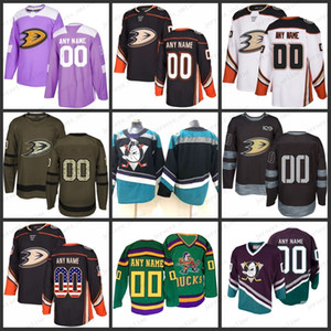 Ordinazione delle donne degli uomini della gioventù Anaheim Ducks 10 Corey Perry 15 Ryan Getzlaf cucita Mighty Ducks of Anaheim Hockey maglie formato S-3X
