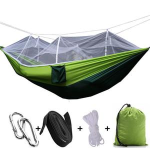 Mais recente Moda Handy Hammock Pessoa Portátil Parachute Tecido Rede Mosquiteiro para Indoor Acampamento Ao Ar Livre Usando c613