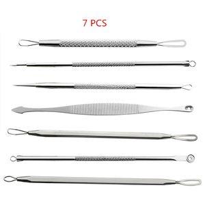 7Pcs lot Blackhead Remover Tool Kit Facial Comedone Acne Needle Clip Pimple Tweezer Blemish Extractor Set Face Skin Care Tools