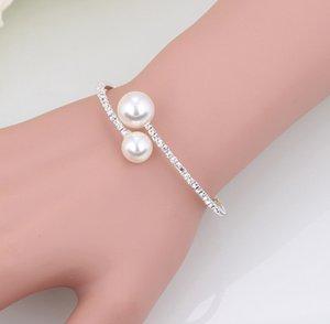 Gioielli d'oro perle nuziale collana e bracciali accessori in argento da sposa set strass formali Brides Accessori Bangles polsini