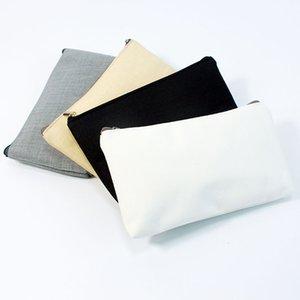 20pcs / lot DIY 메이크업 가방 여행 지퍼 고체 순수한 색상 사용자 정의 캔버스 페인팅 화장품 가방 면화 여행 동전 지갑과 가방을 만들거나