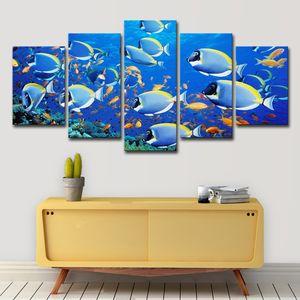 Canvas Prints ポスター 거실 벽 예술 그림 5 Pieces Underwater World Fishs 푸른 금붕어 그림 홈 장식