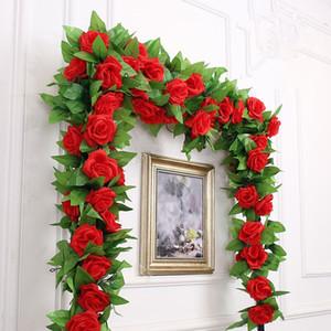 240cm Faux Silk Roses Ivy Vine Fleurs artificielles avec des feuilles vertes pour la maison Décoration de mariage Hanging Garland Décor IB731