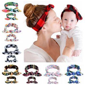 10sets Baby-Mummy Floral Print Bunny Ear Hair Bands Parent-Child Outfit Dot Tartan DIY Bowknot Headbands Rabbit Ear Headwear BE01