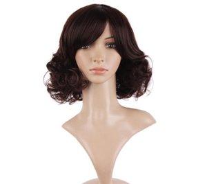 средний вьющиеся черный светло-темно-коричневый синтетические женщины волосы косплей Nautral парики 40 см термостойкие дамы peruca