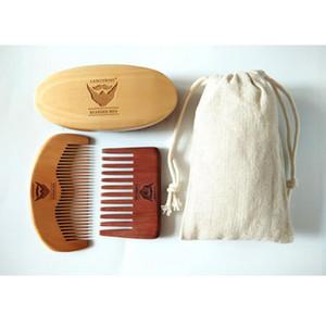 100 ٪ الخنزير الخشن اللحية BrushRed اليدوية مشط واسع الأسنان للرجال الدب الرعاية هدية الشارب / فرشاة الشعر