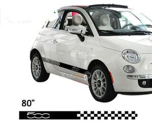 200 * 9cm Çifti Siyah Damalı Bayrak Yarışı Çizgili Çıkartma İçin Fiat 500 Abarth Logo Bravo 015