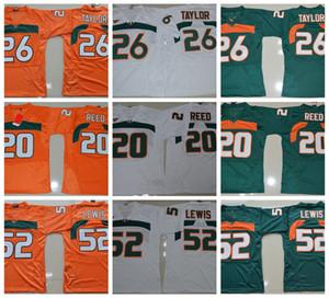 Vintage Miami Furacões Colégio Camisas De Futebol Verde 26 Sean Taylor 52 Ray Lewis R. Lewis 20 Ed Reed Universidade Camisas De Futebol Barato