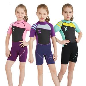 Çocuk Boy Kız 2.5mm Neopren Tek parça Wetsuit Spearfishing Mayo Şnorkel Dalış Sörf Swim Suit Mayo Uzun kollu Plaj