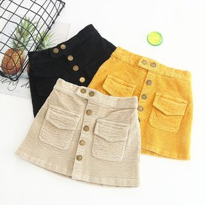Girls Corduroy skirts autumn new children elastic waist single-breasted skirts kids princess skirts girls clothes yellow beige black A01133