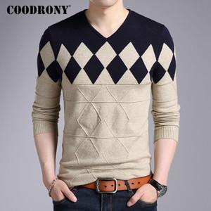 Slim Fit Cashmere Wool Sweater Men Outono capuz Inverno Homens Argyle Padrão V-Neck Pull Homme Natal Camisolas frete grátis