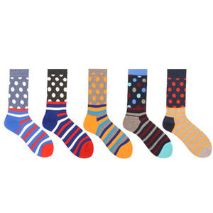 Personalidad europea Happy Tide Brand Funny Mens Socks Originality Stripe Punto pequeño Stitching Men Dress Algodón Sock2PCS = 1PAIRS