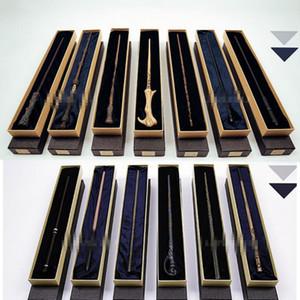 13 diseño Metal Core Harry Potter Varita mágica con caja de regalo Varita infantil Juguetes Harry Potter Cosplay varita mágica KKA4851