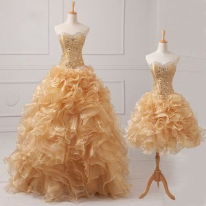 Elegant Champagne Detachable Two Pieces Quinceanera Dresses 2020 Real Ruffles Beaded Crystal Corset Sweet 15 Dresses Masquerade Gowns