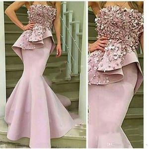 2019 Yeni Seksi Straplez Abiye Pembe Dantel 3D-floral Aplikler Mermaid Peplum Saten Kemer Zarif Balo Abiye vestidos de novia