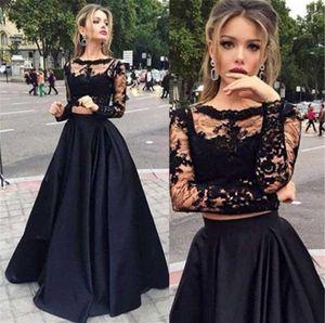 Сексуальная Sheer кружева с длинным рукавом из двух частей линии Пром платья длиной до пола черный атлас вечернее платье