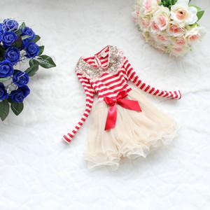 Vieeoease Girls Dress Christmas Stripe Kids Clothing 2020 Autumn Fashion Long Sleeve Lace Tutu Princess Party Dress KU-039