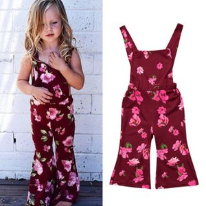 Fashion Kid Baby Girls Clothes Red Floral Bellbottoms Overalls Pants Backless Romper Jumpsuit Playsuit Bib Pants Toddler Outfits Set