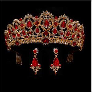 Kırmızı Kraliçe taç Kristal gelin Tiaras gelin taç ve küpe Barok kafa Düğün Aksesuarları diadem saç takı süs