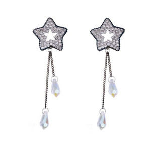 Women 925 Sliver Stars Earring Lady Graceful Sliver Zircon Dangles for Concert Lady Irregular Dangles Fashion Accessories