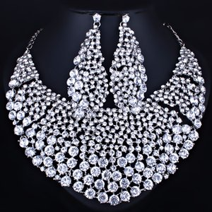 whole saleFARLENA Jewelry Full Clear Rhinestones Big Necklace and Earrings for Women  Bridal Wedding Jewelry sets