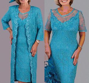 Turkuaz Dantel Diz Boyu Anne Gelin Elbiseler Jewel Boyun Düğün Konuk Elbiseler Custom Made Anne Elbiseler Ceket Ile
