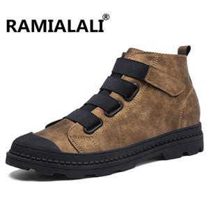Ramialali Натуральная Кожа Мужчины Ботильоны Дышащий Мартин Сапоги Человек Кожа Высокая Верхняя Обувь Открытый Повседневная Обувь Botas Homme