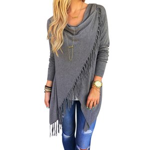 2017 Fashion Women Sweater Tassel Slash Irregular Long Sleeve Loose Cloak Pullover Tops Female Shirt Coat Blusas 3XL pull femme