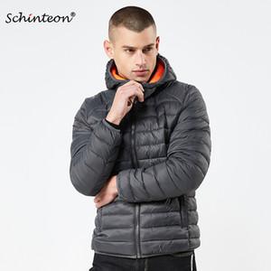 2018 Schinteon 겨울 남성 자켓 코튼 패딩 코트 파커 유럽과 미국의 간단한 솔리드 의류 후드와 따뜻한