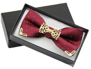 새 패션 부티크 메탈 헤드 나비 넥타이 신랑 남성 여성 나비 단단한 Bowtie 클래식 Gravata Cravat