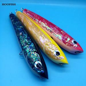 Commercio all'ingrosso 1 PZ Topwater Bastone di Legno esca GT Superficie Trolling Esche 120 g / 22 cm 3 colori Deep Sea Handmade Richiamo di Pesca