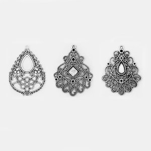 4pcs Antique Silver Hollow Open Filigree Lacework Water Drop Charms Pendant For Necklace Earring Jewelry Findings Accessories