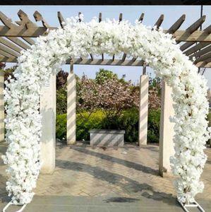 Haut de gamme centres de mariage porte de mariage en métal porte suspendue guirlande fleur stands avec fleurs de cerisier pour les faveurs de mariage décoration de parti