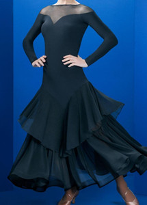 Adult Ballroom Dance Dresses Lady's Long Sleeve Black Blue Red Tango Waltz Dancing Skirt Women Ballroom Dance Competition Dress