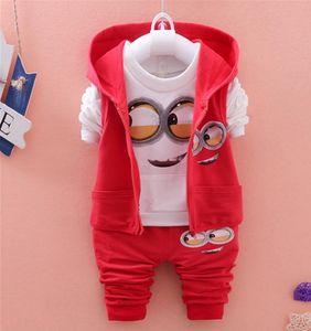 Осень новорожденных девочек мальчиков миньон костюмы младенцев / новорожденных комплекты одежды дети жилет + футболка + брюки 3 шт. Комплекты детские костюмы