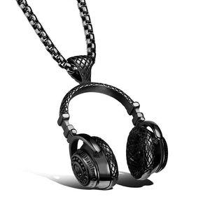 Heavy Metal беспроводная музыка наушники Дизайн из нержавеющей стали мода Ожерелье для мужчин байкер ювелирные изделия, серебро / золото / черный KKA1841