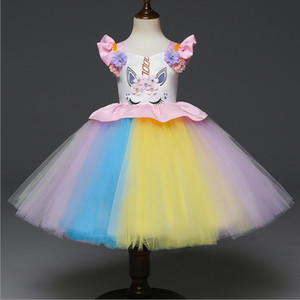 Abito per bambina di 1-5 anniCartone animato compleanno unicorno fascia rosa festa tutu bambino abbigliamento per bambini Abito firmato Roupas
