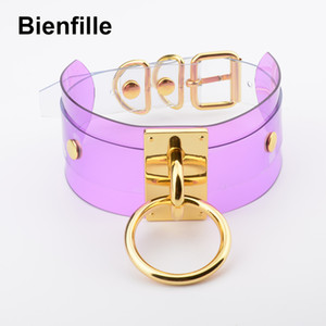 whole saleHarajuku Oversized Buckle Rock Double Layer Leather Collar Necklace Silver Gold 40mm O Round Fetish Bondage Sexy BDSM PVC Choker