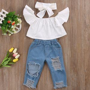 Fsshion enfants layette Off-épaule Hauts T-Shirt + Jeans + Ripped Bandeau 3Pcs Tenues Summer Fashion Kid Fille Vêtements Boutique Costume