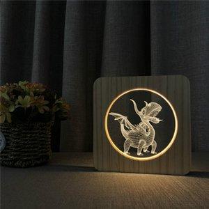 Lampe 3D Dinosaur animaux Sculpture sur bois d'alimentation USB Light Motif LED Veilleuse en bois, LED Table Bureau Accueil Chambre Lampe Décoration
