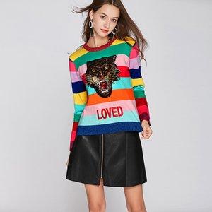 Suéteres de las mujeres del arco iris suéteres Femme Suéter de la bordadora de cuello redondo AMADO Suéter de la manga larga de rayas colorida invierno de punto