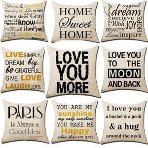 Carta é meu raio de sol eu te amo travesseiro capa de almofada de linho lance fronhas sofá travesseiro cobre presentes de natal 18 * 18 polegada hh7-1392