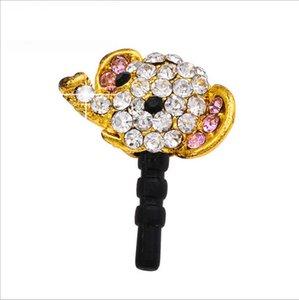 Nuevo arco de diamantes pequeños accesorios de telefonía móvil de la personalidad salvaje de aleación de alta ley de cabeza del enchufe del polvo del elefante