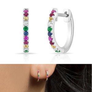 Colorido cz aros brinco de prata esterlina 925 jóias finas mini pequeno aro de pedra colorida verão projeto moda agradável ouvido jóias