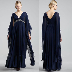 2018 Navy Blue Chiffon Formal Mother Of Bride Evening Dresses V Neck High Waist Beaded Floor Long Plus Size Prom Party Gowns Cheap